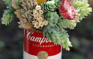 Lata Campbel's con flores oferta