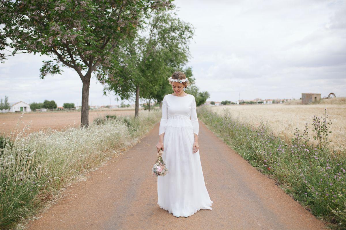 Ramo silvestre de novia preservado y corona a juego