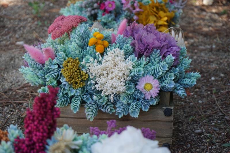 Centros de mesa para bodas con flores artificiales y secas - Centro de mesa con flores artificiales ...