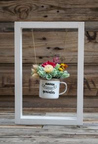 """Columpio con flores preservadas y secas """"Juntos Somos Geniales"""""""