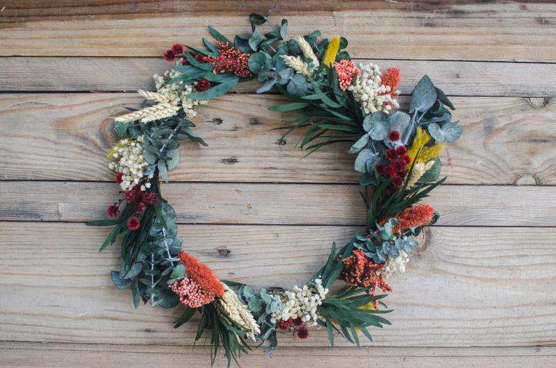 Decoración navideña con flores original, 2016-2017