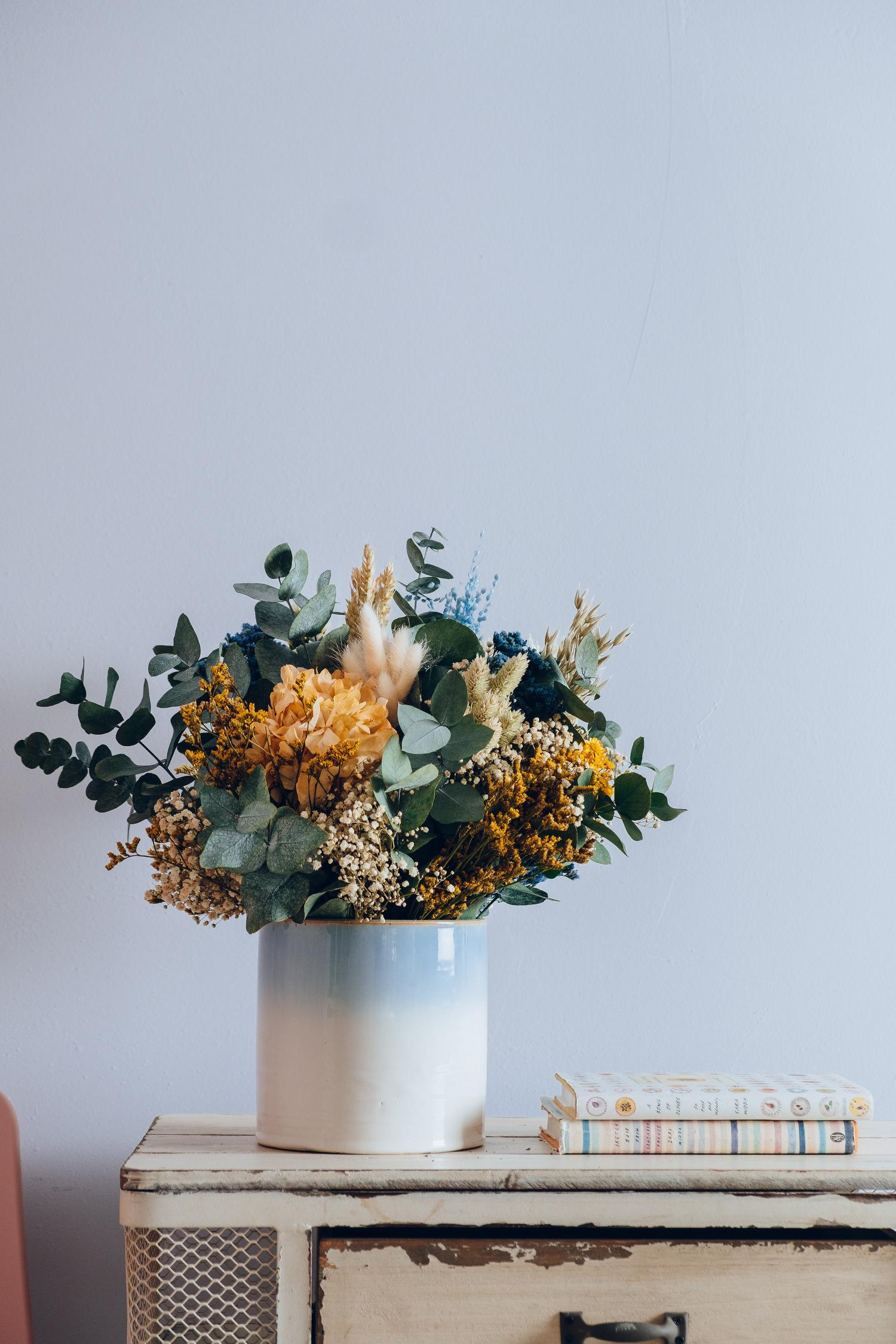 Bluebell Yard Jarrón De Cerámica Con Diseño De Flores Color Azul Y Blanco Jarrones Hogar Y Cocina
