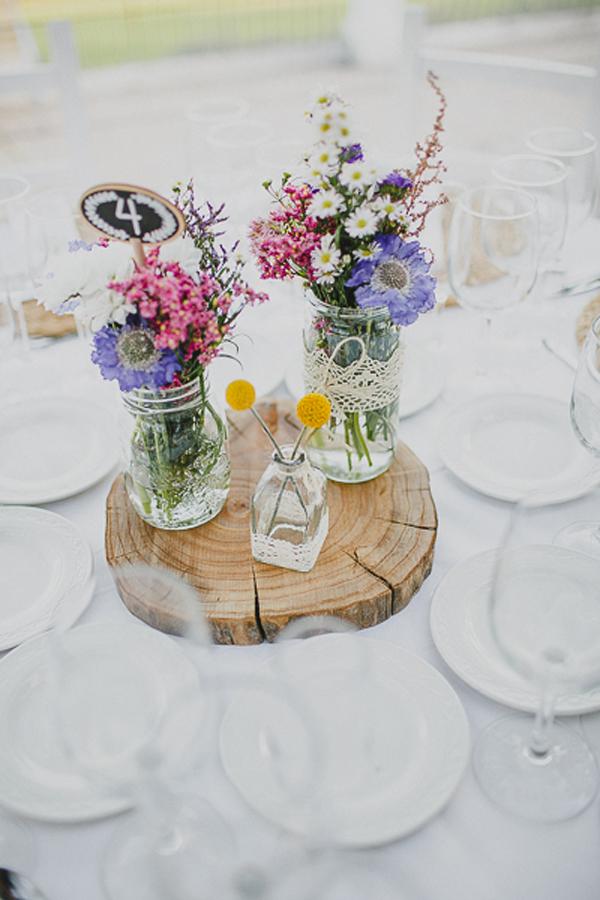 Centros de mesa de flores silvestres flores en el columpio - Mesa centro madera y cristal ...
