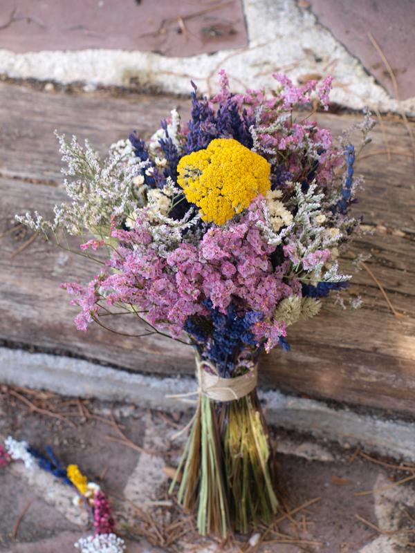Ramo Y Corona De Novia Silvestre Con Flores Secas