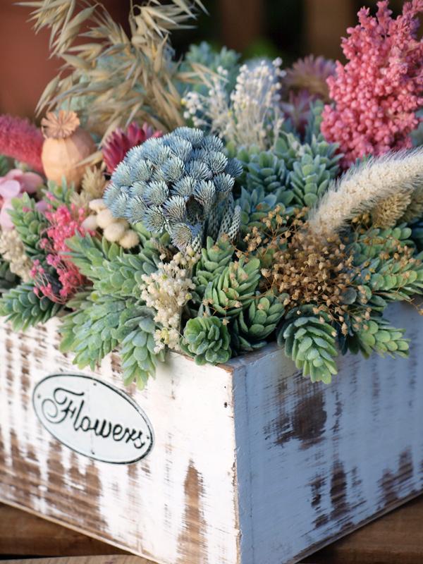 Centro de flores secas y preservadas en madrid flores en - Plantas secas decoracion ...