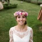 corona de flores con hortensias