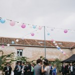 Decoración del patio con globos