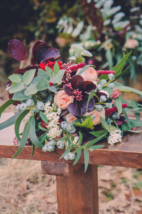 Ramo de novia con rosas austin